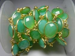 Green Chalcedony Bezel Station Gold Plated Chain