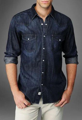 3ed354ae63c Denim Mens Shirts - Dark Blue Denim Shirt Retailer from Delhi
