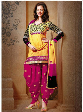 Yellow And Magnta Chanderi Silk Punjabi Salwar Suit - 72 Lane ...