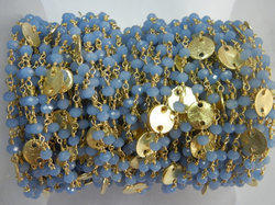 Blue Chalcedony Gold Plated Sterling Silver Disk Chain