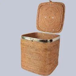 Lidded Square Laundry Wicker Basket
