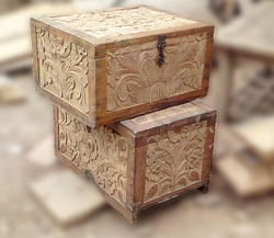 Carved Wooden Trunks Cash Box