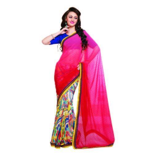 e3f21d358399e Pink White Saree