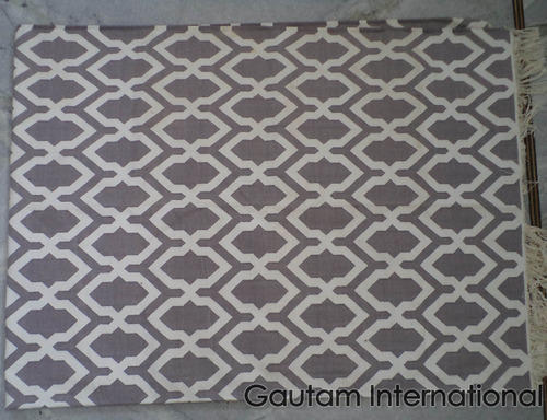 Hand Weave Indian Cotton Dhurrie Rug