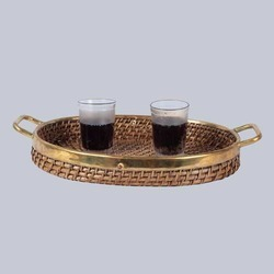Cane Oval Tray with Handles