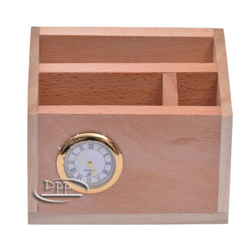 Woodanytime Natural Steam Beach Wood Wooden Pen Stand with clock