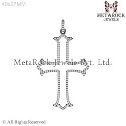 Pave Diamond Crescent Cross Design Pendants