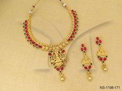 Laxmi Ji Kairi Style Temple Kemp Necklace