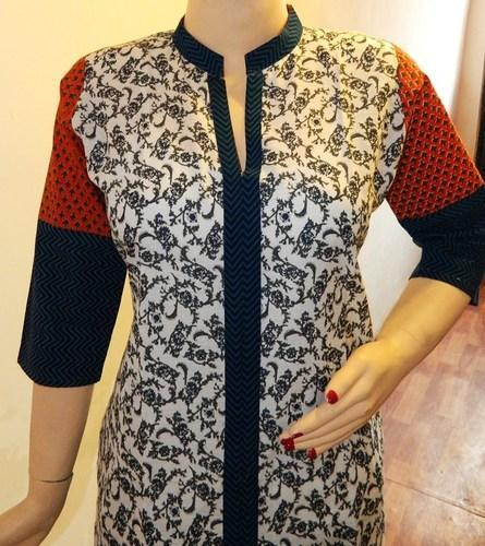 Stand Collar Designs For Kurti : White printed kurti with contrast stand collar sleeves