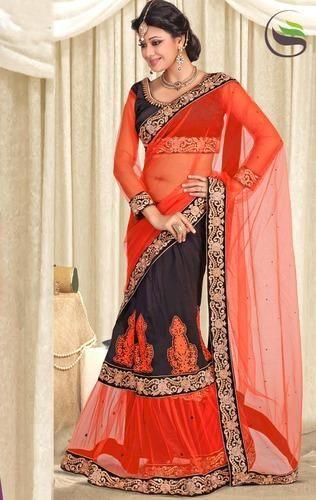 a64301d4ec Dark Orange & Black Color Net & Faux Georgette Lehenga Saree - Saree ...