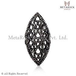 925 Sterling Silver Filigree Diamond Ring