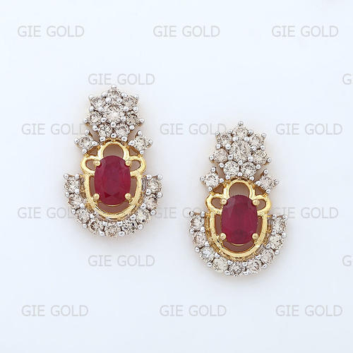 a6431db8f Unique Diamond- Ruby Earring Tops/Studs - Jewels Of Jaipur, Jaipur ...