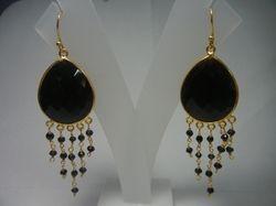 Black Onyx Bezel Set Dangle Earring