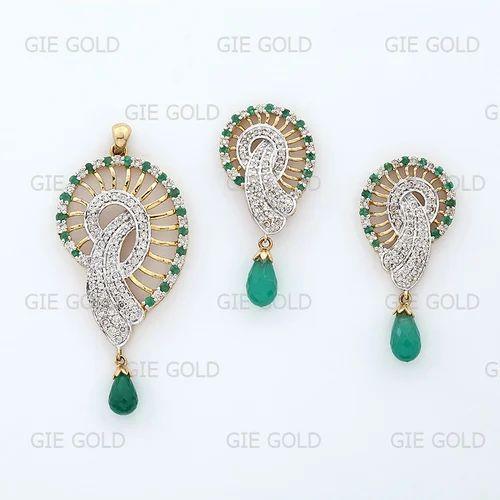 Diamond pendant sets classic diamond pendant set exporter from jaipur mozeypictures Choice Image