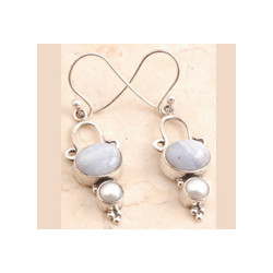 Blue Lace Agate Earrings Set