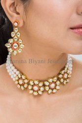 9e409111dac4e Polki Kundan and Freshwater Pearls Choker Necklace Set