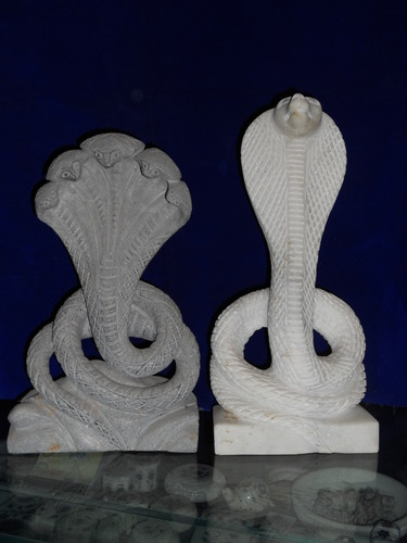 White Marble Snake Statue