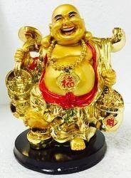 Golden Big Laughing Buddha Happy Man Chinese Fengshui
