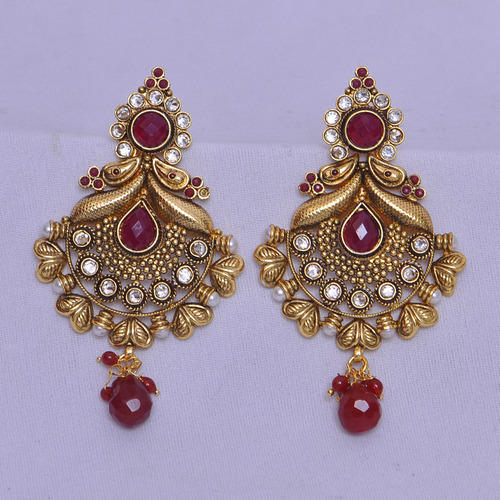 Antique Jewellery Emerald Earrings Manufacturer From Mumbai