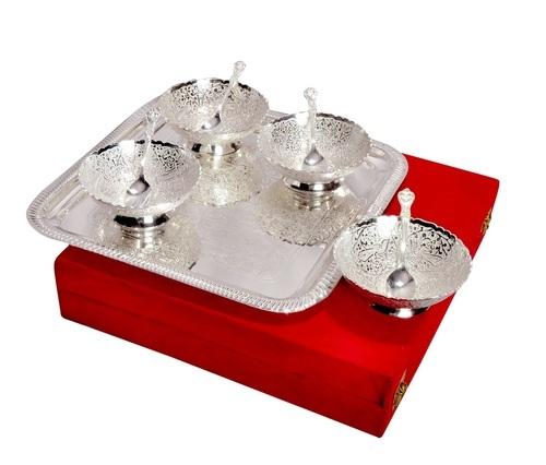 Silver Gifts For Indian Wedding: Silver Plated Gift Items, Bowls Set Silver Plated