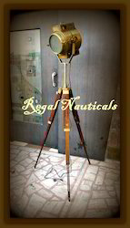 Antique Spot Light With Wooden Tripod