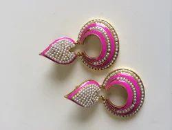 Pastel Pink Moti Earrings