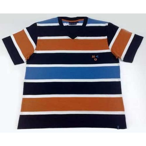 Cotton Casual Wear Striped T Shirt, Size: Large