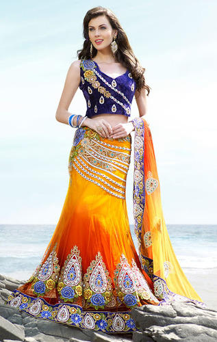 Wedding Lehenga Style Saree Machine Made 6 3 M With Blouse Piece Rs 3999 Piece S Id 4881879712