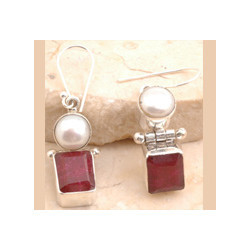 Brilliant Dyed Ruby Earrings