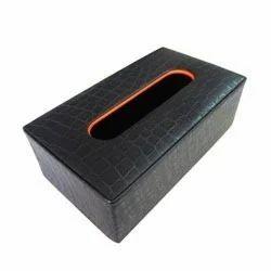 Black Croco Print Tissue Box