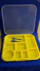 8 Compartment Tray With Lid+Spoon+Fork