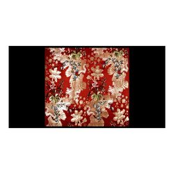 Red Satin Brocade Fabric