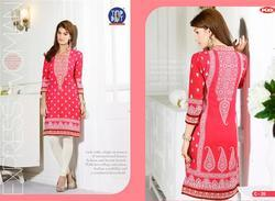 Cotton 3/4th Sleeve Embroidered Kurtis