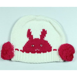 White Kids Printed Woolen Cap