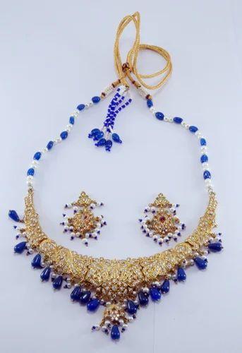 Blue stone gold necklace set necklace set sita pura jaipur blue stone gold necklace set aloadofball Choice Image