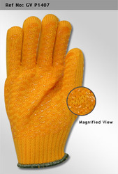 Acrylic Knitted Hand Gloves with PVC Criss Cross
