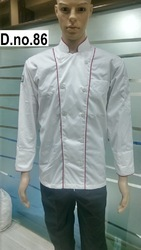White With Red Piping Chef Coats