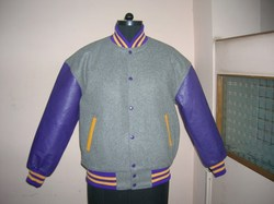 Grey Purple Wool Vinyl Varsity Jacket