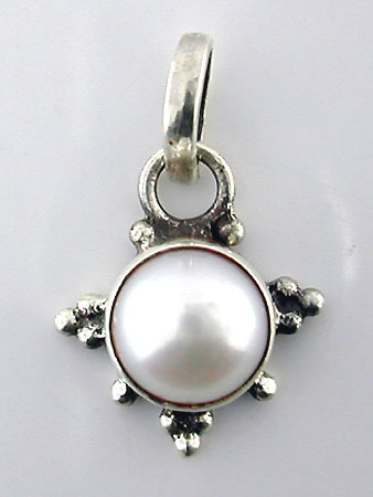 Round Moonstone Silver Pendant