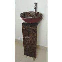 Sparkle Glass L Bends Bathroom Wash Basins