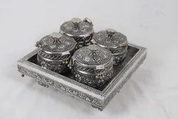 Silver Plated 4 Dibbi Supari Daan