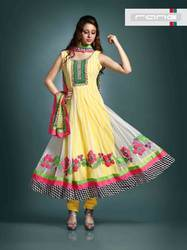 Semi-Stitched Silk Stylist Anarkali Suit with Work
