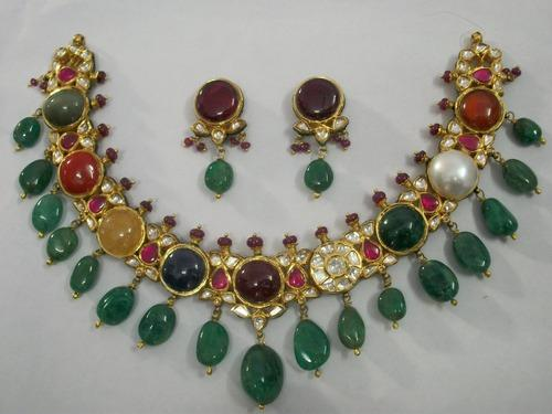 Kundan Jewelry Kundan Meena Navratna Necklace Set Made