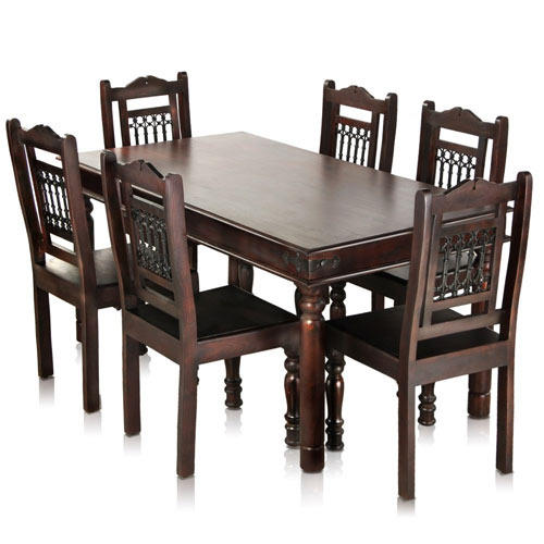 Jaipur Solid Wood Maharaja 6 Seater Dining Table Set Mynesthome