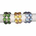 Blue/ Yellow/ Green Vm Handicraft Handmade Crystal Napkin Ring, Size: 2 Inch