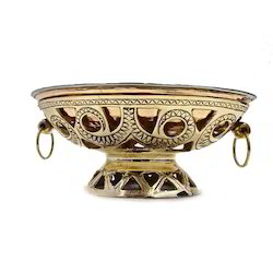 Brass Oval Snack warmer w Copper Steel Dish