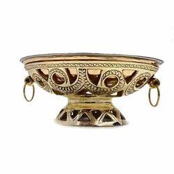 Brass Oval Snack warmer w Copper Steel Dish
