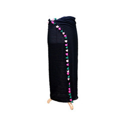Cotton/Linen Black Beachwear Scarves Sarong With Tassel