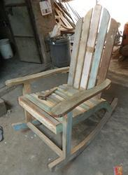 Colorful Reclaimed Wood Retro Style Rocking Chair