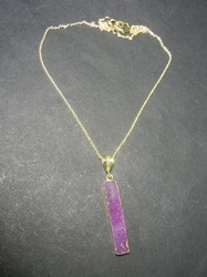Pink Durzy Rectangle Silver Gemstone Necklace